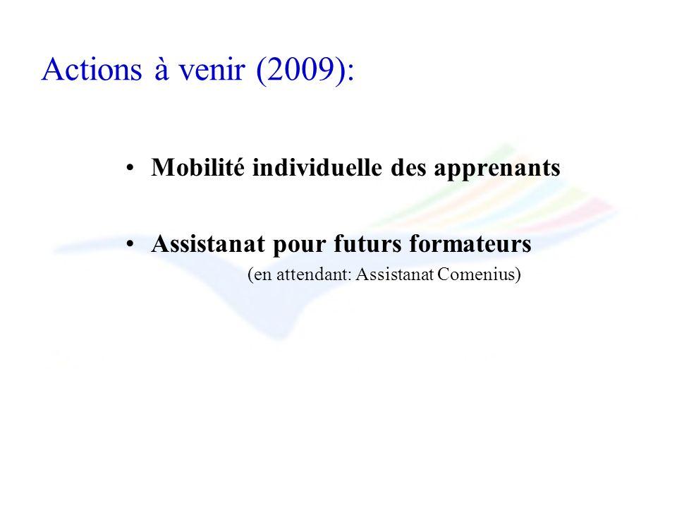 Actions à venir (2009): Mobilité individuelle des apprenants Assistanat pour futurs formateurs (en attendant: Assistanat Comenius)