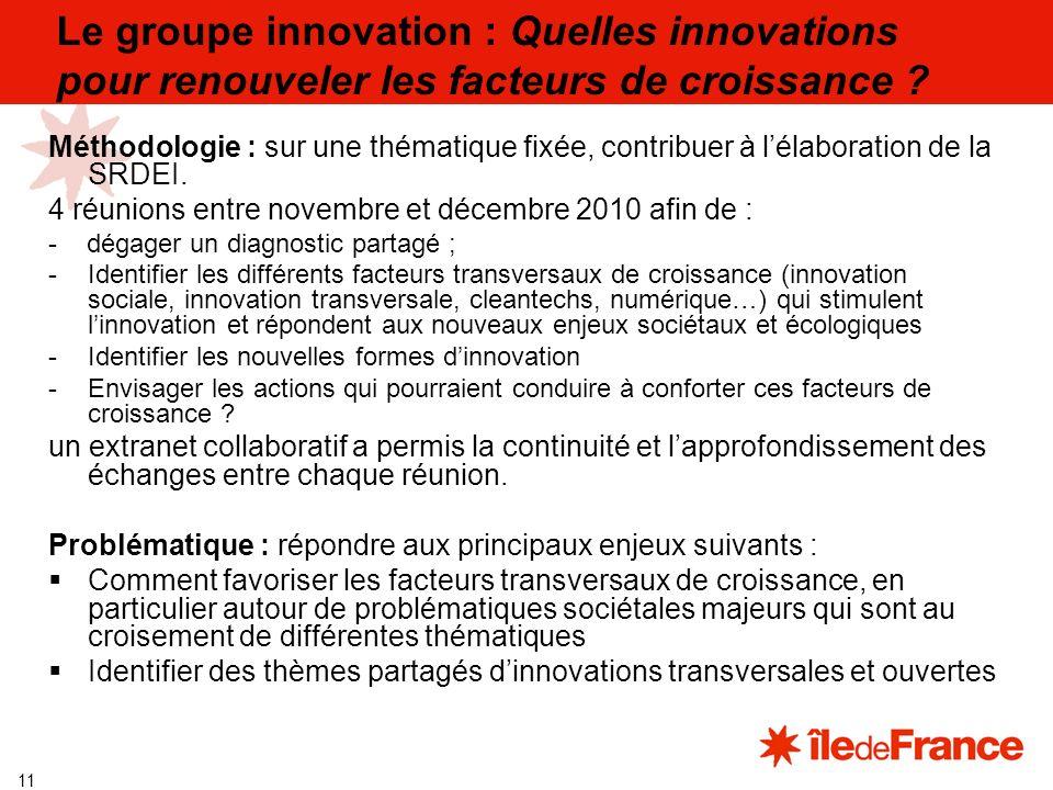 11 Le groupe innovation : Quelles innovations pour renouveler les facteurs de croissance .