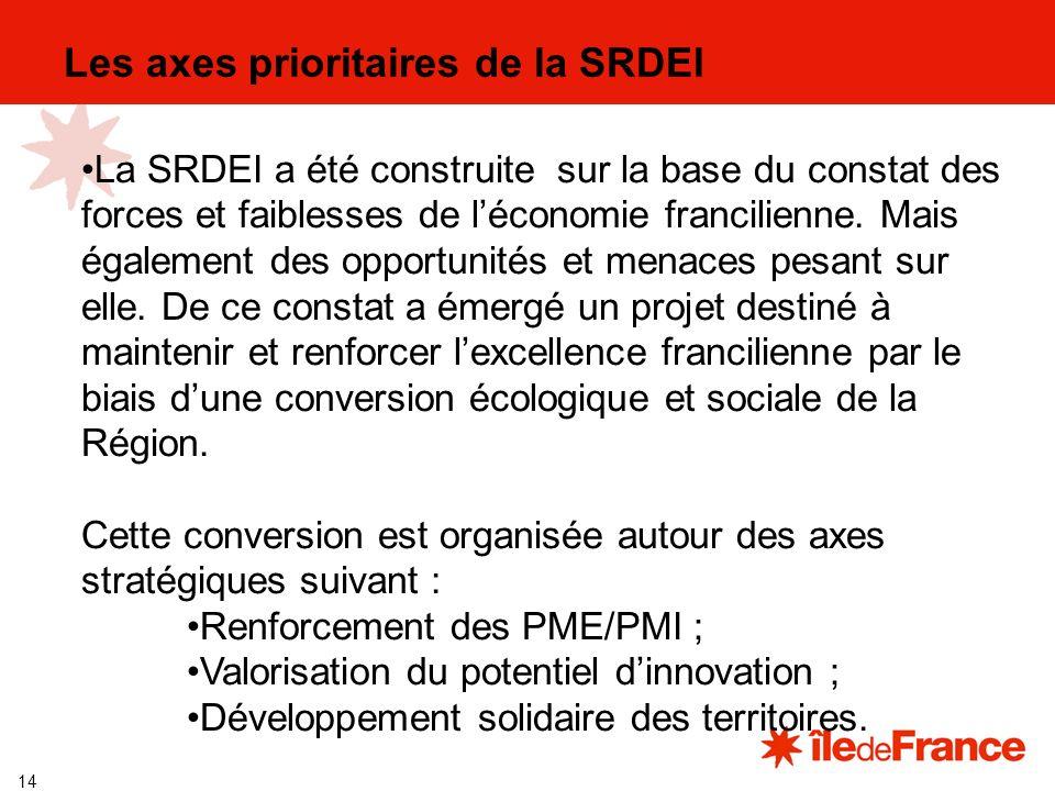 14 Les axes prioritaires de la SRDEI La SRDEI a été construite sur la base du constat des forces et faiblesses de léconomie francilienne.