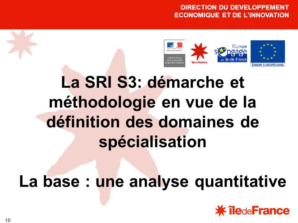 16 DIRECTION DU DEVELOPPEMENT ECONOMIQUE ET DE LINNOVATION La SRI S3: démarche et méthodologie en vue de la définition des domaines de spécialisation La base : une analyse quantitative