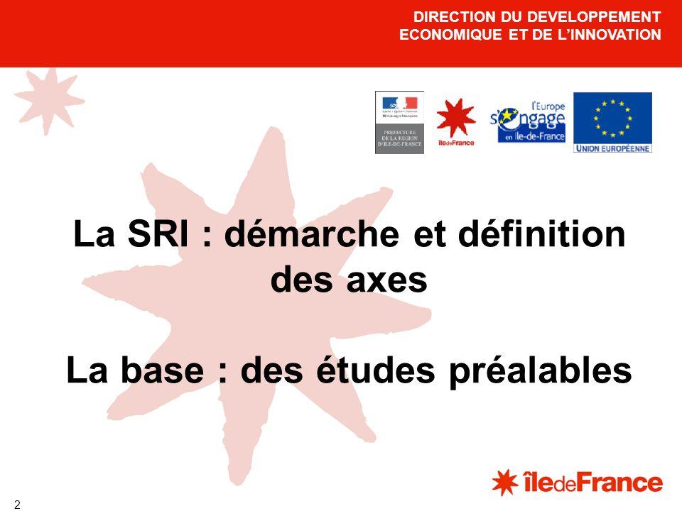 3 La Stratégie Régionale de lInnovation pour lIle-de-France La démarche : objectif fixé en 2000, lors du Conseil européen de Lisbonne : faire de lEurope, léconomie de la connaissance la plus dynamique au monde en 2010, résultats mitigés constatés en 2005 : la commission a demandé à lensemble des autorités de gestion françaises dapprofondir les diagnostics sur les systèmes régionaux dinnovation demande retranscrite via les Programmes Opérationnels (PO) FEDER 2007-2013.