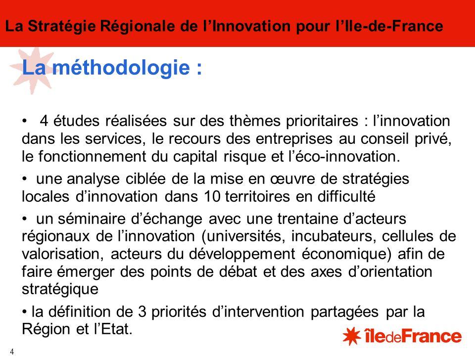 4 La Stratégie Régionale de lInnovation pour lIle-de-France La méthodologie : 4 études réalisées sur des thèmes prioritaires : linnovation dans les services, le recours des entreprises au conseil privé, le fonctionnement du capital risque et léco-innovation.