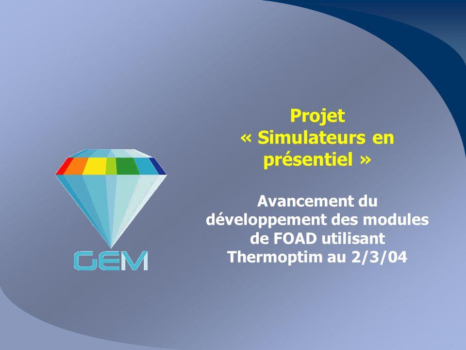 Projet « Simulateurs en présentiel » Avancement du développement des modules de FOAD utilisant Thermoptim au 2/3/04
