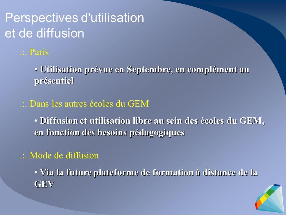 Perspectives d'utilisation et de diffusion.:. Paris Utilisation prévue en Septembre, en complément au présentiel Utilisation prévue en Septembre, en c