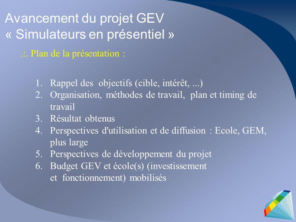 Avancement du projet GEV « Simulateurs en présentiel ».:. Plan de la présentation : 1.Rappel des objectifs (cible, intérêt,...) 2.Organisation, méthod