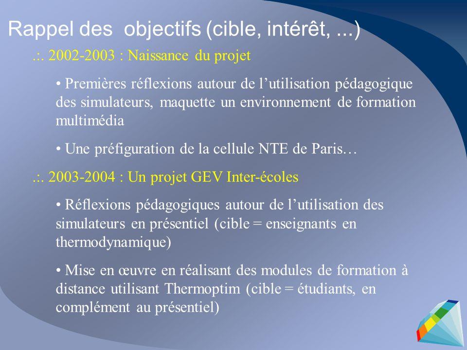 .:. 2002-2003 : Naissance du projet Premières réflexions autour de lutilisation pédagogique des simulateurs, maquette un environnement de formation mu