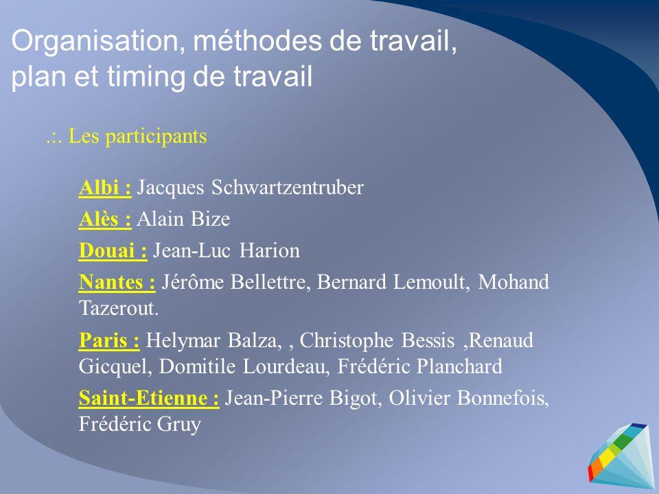 Organisation, méthodes de travail, plan et timing de travail.:. Les participants Albi : Jacques Schwartzentruber Alès : Alain Bize Douai : Jean-Luc Ha