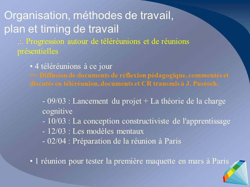 Organisation, méthodes de travail, plan et timing de travail.:. Progression autour de téléréunions et de réunions présentielles 4 téléréunions à ce jo
