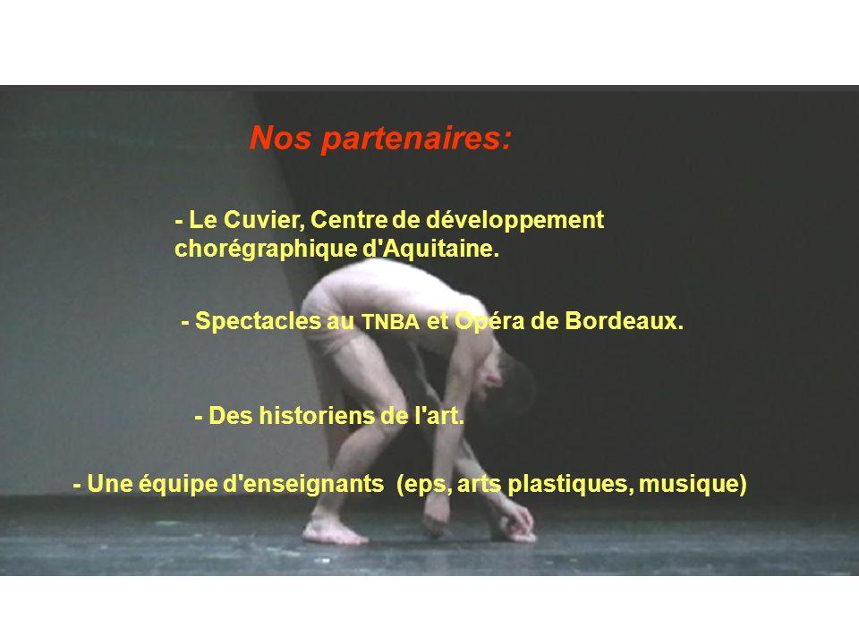 Nos partenaires: - Le Cuvier, Centre de développement chorégraphique d'Aquitaine. - Spectacles au TNBA et Opéra de Bordeaux. - Des historiens de l'art
