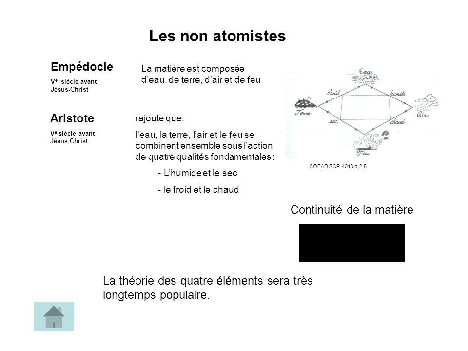 Lévolution du modèle atomique LeucippeDémocriteDaltonThomsonRutherfordBohrChadwick La matière est constituée datomes Latome est indivisibleLatome est divisible Entre les atomes, cest le vide Discontinuité de la matière La majeure partie de latome est vide Les atomes sont constamment en mouvement.