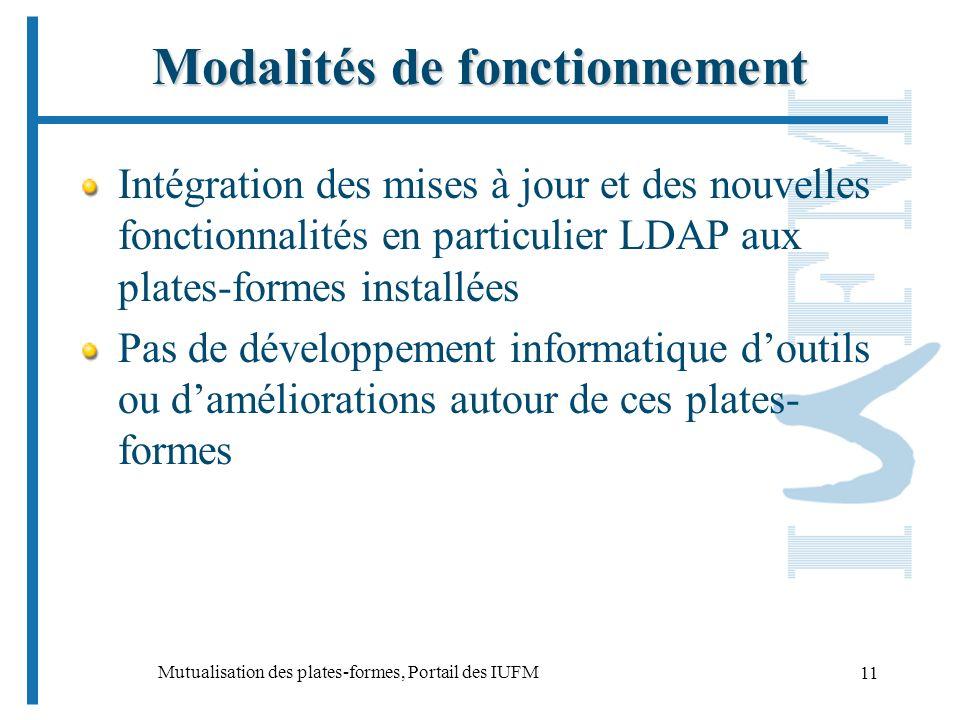 Mutualisation des plates-formes, Portail des IUFM 11 Modalités de fonctionnement Intégration des mises à jour et des nouvelles fonctionnalités en particulier LDAP aux plates-formes installées Pas de développement informatique doutils ou daméliorations autour de ces plates- formes