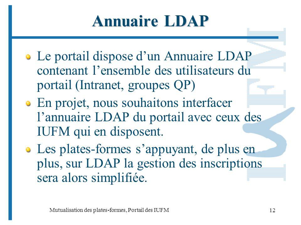 Mutualisation des plates-formes, Portail des IUFM 12 Annuaire LDAP Le portail dispose dun Annuaire LDAP contenant lensemble des utilisateurs du portail (Intranet, groupes QP) En projet, nous souhaitons interfacer lannuaire LDAP du portail avec ceux des IUFM qui en disposent.