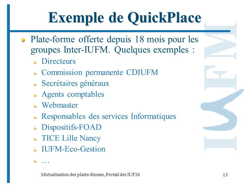 Mutualisation des plates-formes, Portail des IUFM 13 Exemple de QuickPlace Plate-forme offerte depuis 18 mois pour les groupes Inter-IUFM.