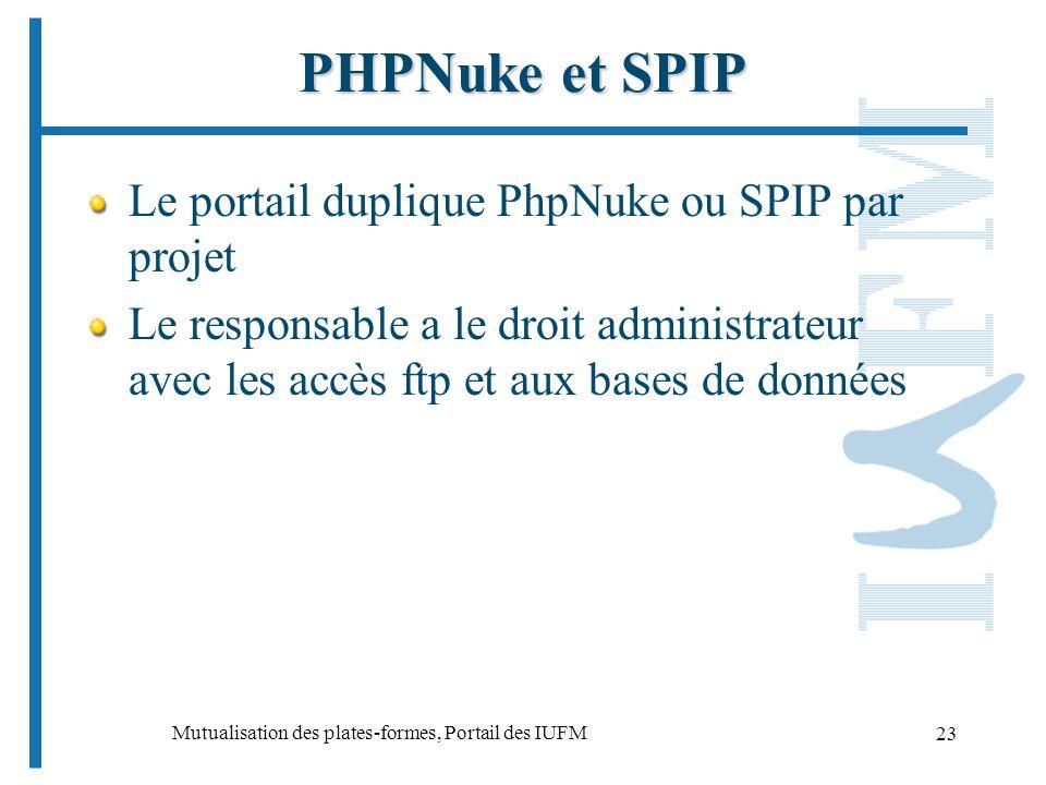 Mutualisation des plates-formes, Portail des IUFM 23 PHPNuke et SPIP Le portail duplique PhpNuke ou SPIP par projet Le responsable a le droit administrateur avec les accès ftp et aux bases de données