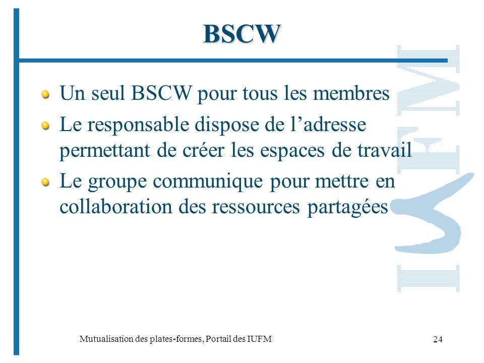 Mutualisation des plates-formes, Portail des IUFM 24 BSCW Un seul BSCW pour tous les membres Le responsable dispose de ladresse permettant de créer les espaces de travail Le groupe communique pour mettre en collaboration des ressources partagées