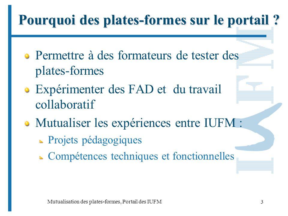 Mutualisation des plates-formes, Portail des IUFM 3 Pourquoi des plates-formes sur le portail .