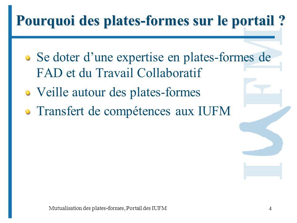 Mutualisation des plates-formes, Portail des IUFM 4 Pourquoi des plates-formes sur le portail .