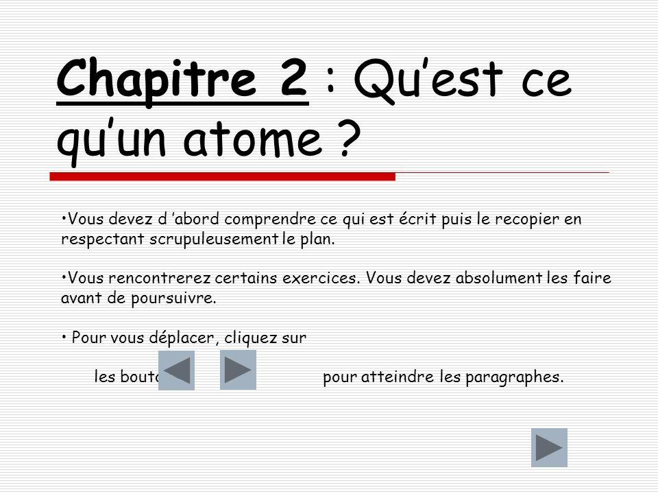 Chapitre 2 : Quest ce quun atome .