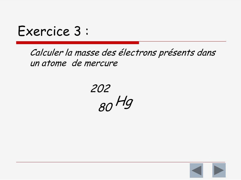 Exercice 3 : Calculer la masse des électrons présents dans un atome de mercure 202 80 Hg