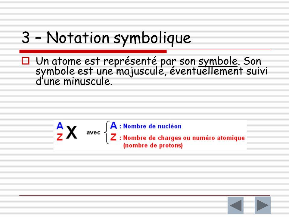 3 – Notation symbolique Un atome est représenté par son symbole.