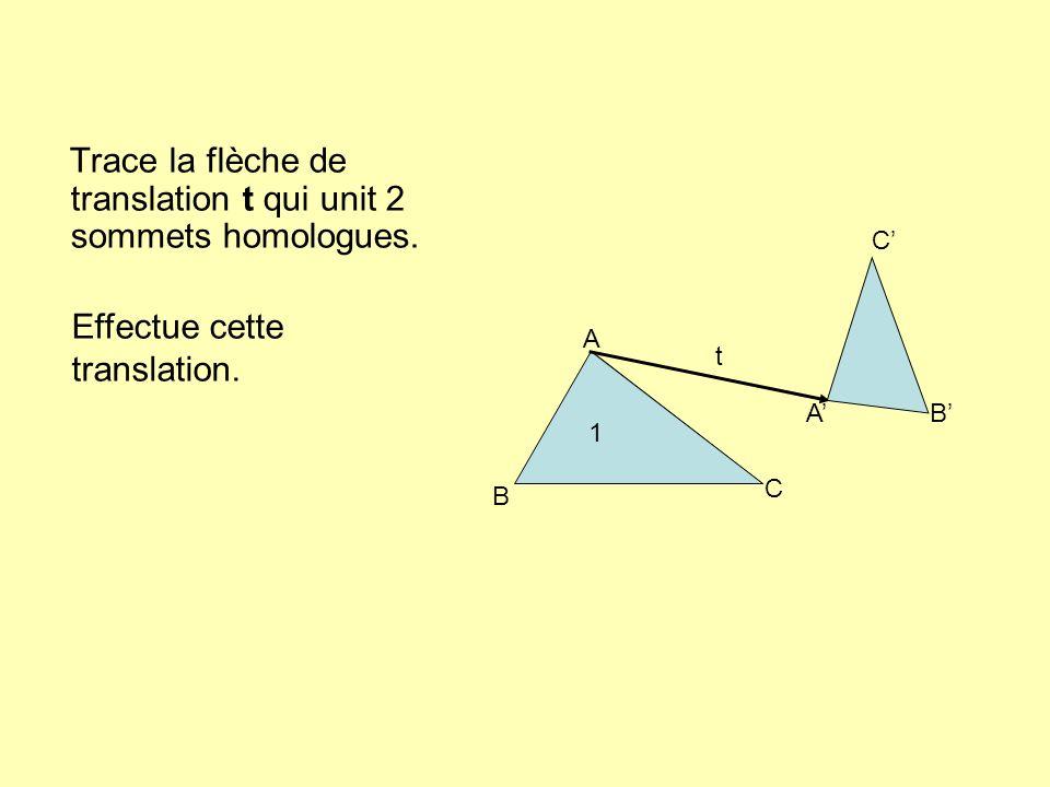 Trace la flèche de translation t qui unit 2 sommets homologues. A B C AB C t 1 Effectue cette translation.