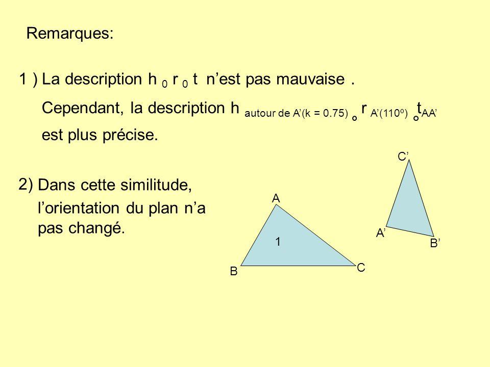 h autour de A(k = 0.75) r A(110º) t AA Remarques: 1 ) La description h 0 r 0 t nest pas mauvaise.