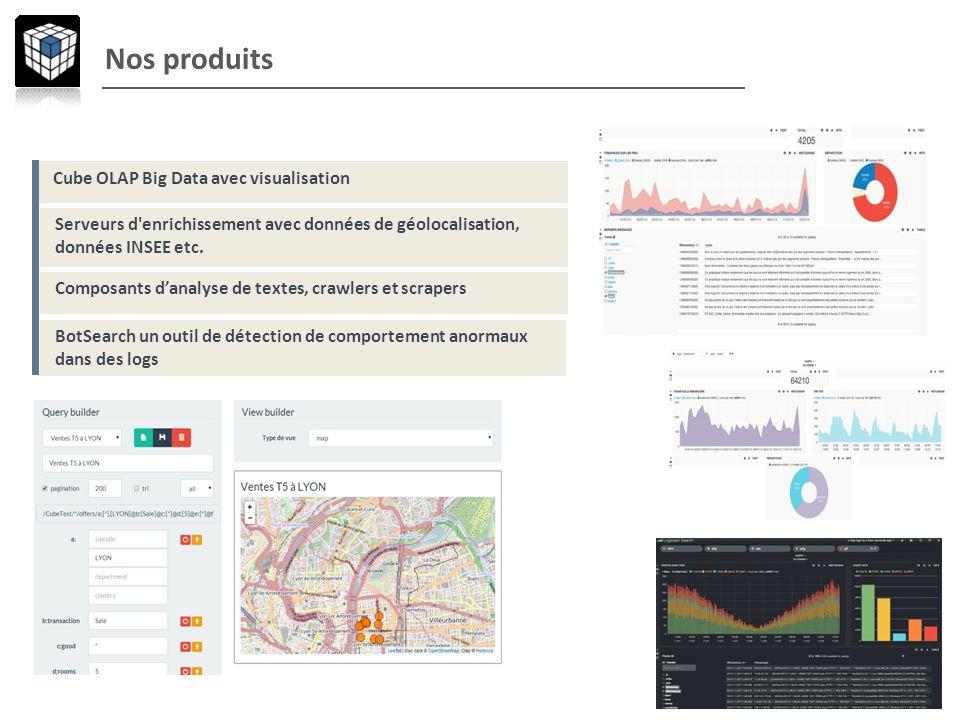 Nos produits Cube OLAP Big Data avec visualisation Serveurs d'enrichissement avec données de géolocalisation, données INSEE etc. Composants danalyse d