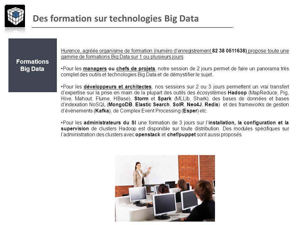 Des formation sur technologies Big Data Formations Big Data Hurence, agréée organisme de formation (numéro denregistrement 82 38 0511638) propose tout