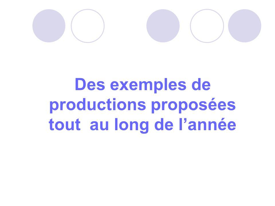 Des exemples de productions proposées tout au long de lannée