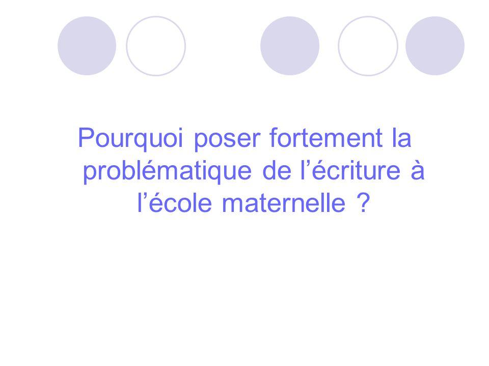 Pourquoi poser fortement la problématique de lécriture à lécole maternelle ?
