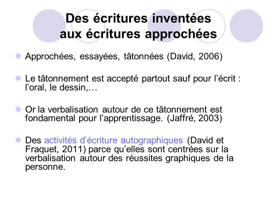 Des écritures inventées aux écritures approchées Approchées, essayées, tâtonnées (David, 2006) Le tâtonnement est accepté partout sauf pour lécrit : l