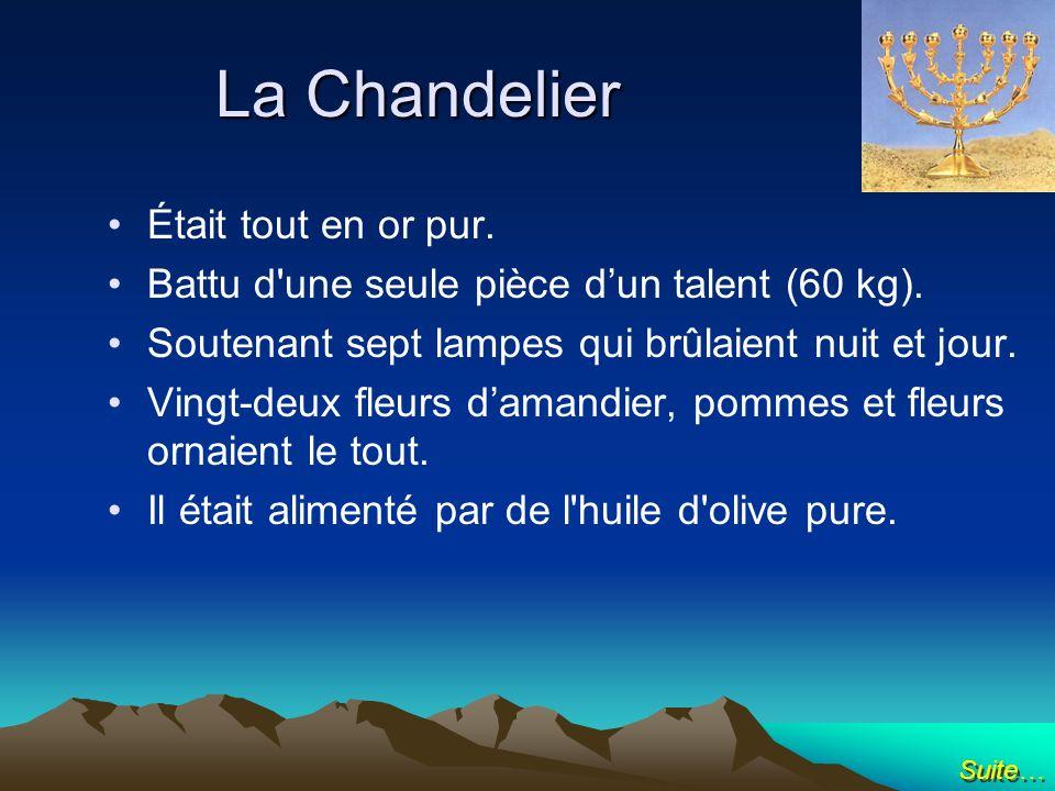 La Chandelier Était tout en or pur. Battu d'une seule pièce dun talent (60 kg). Soutenant sept lampes qui brûlaient nuit et jour. Vingt-deux fleurs da