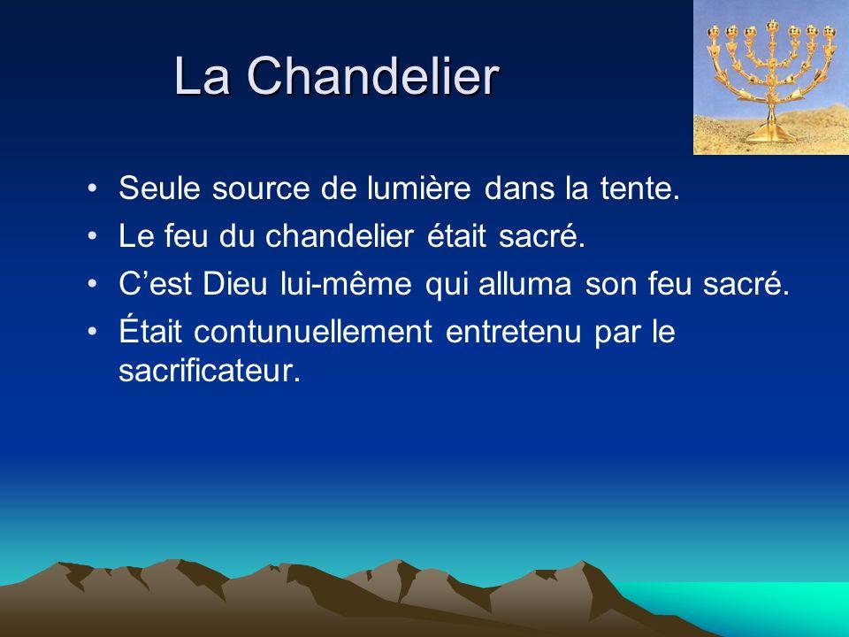 La Chandelier Seule source de lumière dans la tente. Le feu du chandelier était sacré. Cest Dieu lui-même qui alluma son feu sacré. Était contunuellem