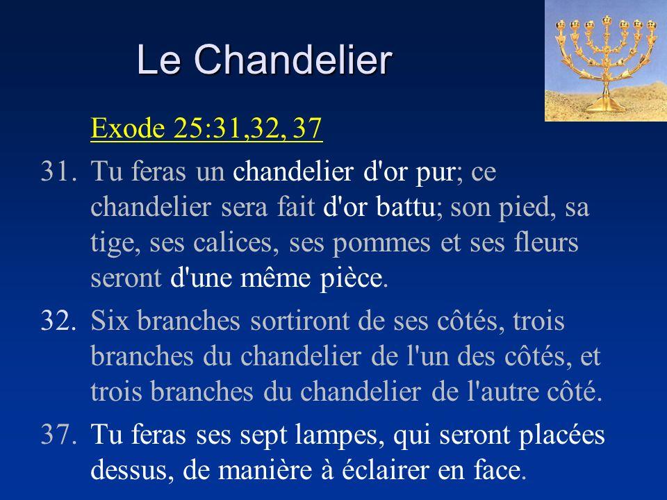 Le Chandelier Exode 25:31,32, 37 31.Tu feras un chandelier d'or pur; ce chandelier sera fait d'or battu; son pied, sa tige, ses calices, ses pommes et