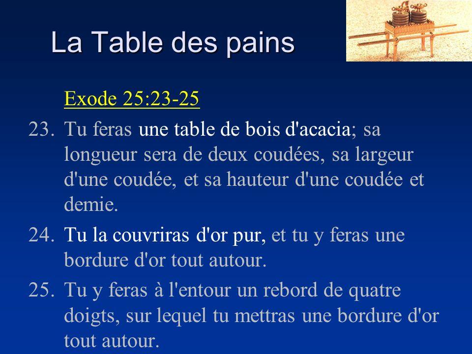 La Table des pains Exode 25:23-25 23.Tu feras une table de bois d'acacia; sa longueur sera de deux coudées, sa largeur d'une coudée, et sa hauteur d'u