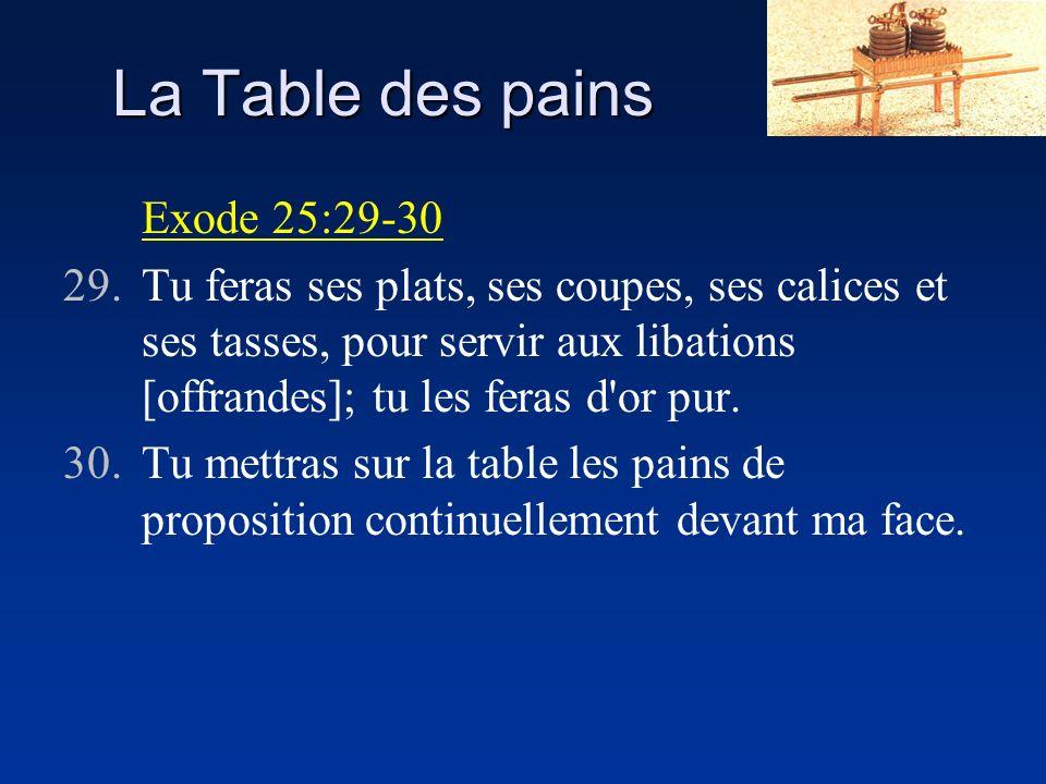 La Table des pains Exode 25:29-30 29.Tu feras ses plats, ses coupes, ses calices et ses tasses, pour servir aux libations [offrandes]; tu les feras d'