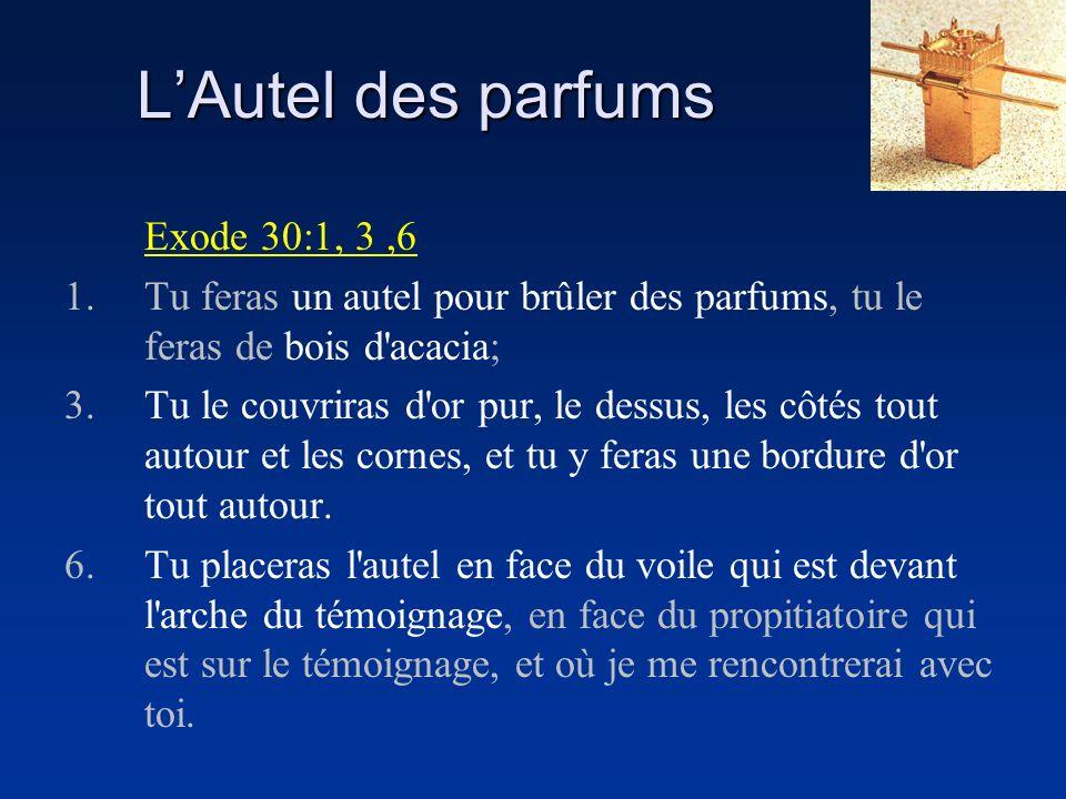 LAutel des parfums Exode 30:1, 3,6 1.Tu feras un autel pour brûler des parfums, tu le feras de bois d'acacia; 3.Tu le couvriras d'or pur, le dessus, l