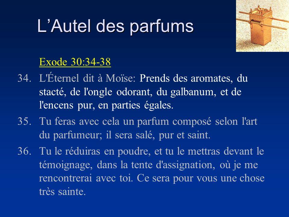 LAutel des parfums Exode 30:34-38 34.L'Éternel dit à Moïse: Prends des aromates, du stacté, de l'ongle odorant, du galbanum, et de l'encens pur, en pa