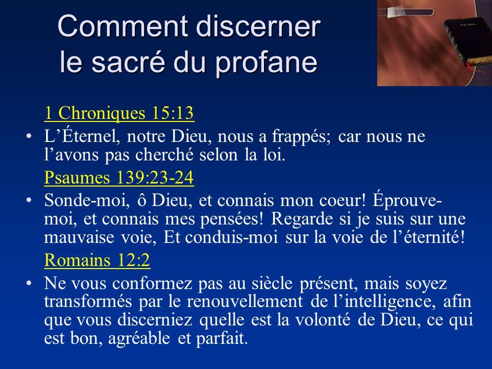 1 Chroniques 15:13 LÉternel, notre Dieu, nous a frappés; car nous ne lavons pas cherché selon la loi. Psaumes 139:23-24 Sonde-moi, ô Dieu, et connais