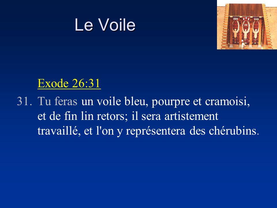 Le Voile Exode 26:31 31.Tu feras un voile bleu, pourpre et cramoisi, et de fin lin retors; il sera artistement travaillé, et l'on y représentera des c