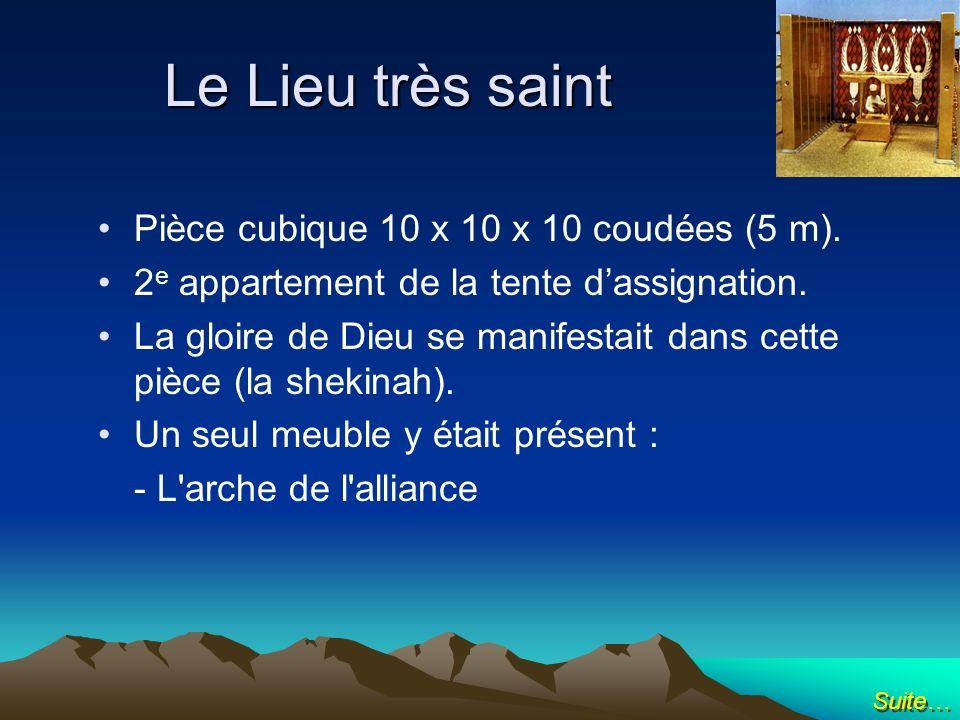Pièce cubique 10 x 10 x 10 coudées (5 m). 2 e appartement de la tente dassignation. La gloire de Dieu se manifestait dans cette pièce (la shekinah). U