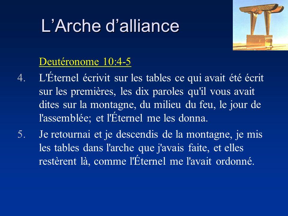 LArche dalliance Deutéronome 10:4-5 4.L'Éternel écrivit sur les tables ce qui avait été écrit sur les premières, les dix paroles qu'il vous avait dite