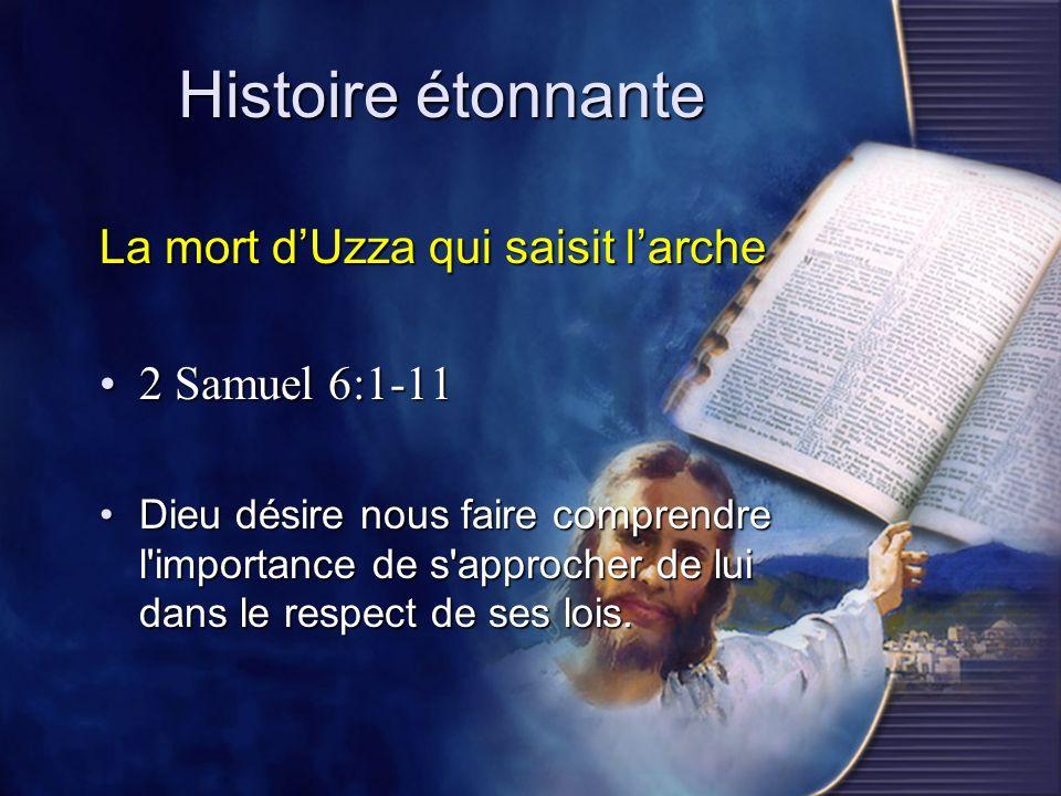 Histoire étonnante La mort dUzza qui saisit larche 2 Samuel 6:1-112 Samuel 6:1-11 Dieu désire nous faire comprendre l'importance de s'approcher de lui