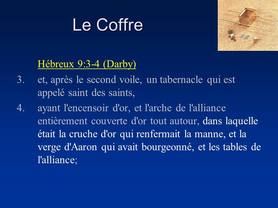 Hébreux 9:3-4 (Darby) 3.et, après le second voile, un tabernacle qui est appelé saint des saints, 4.ayant l'encensoir d'or, et l'arche de l'alliance e