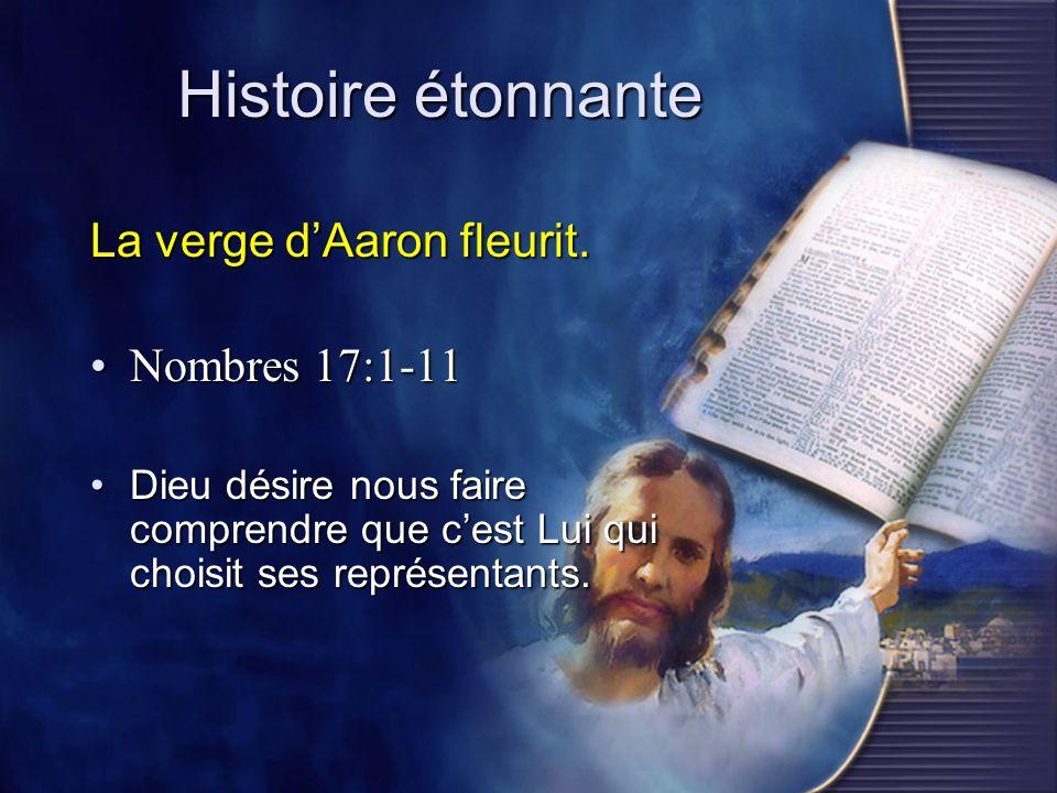 Histoire étonnante La verge dAaron fleurit. Nombres 17:1-11Nombres 17:1-11 Dieu désire nous faire comprendre que cest Lui qui choisit ses représentant
