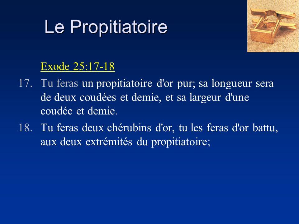 Le Propitiatoire Exode 25:17-18 17.Tu feras un propitiatoire d'or pur; sa longueur sera de deux coudées et demie, et sa largeur d'une coudée et demie.