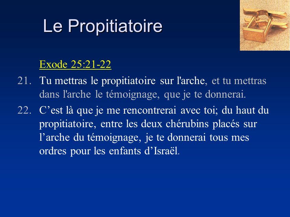 Le Propitiatoire Exode 25:21-22 21.Tu mettras le propitiatoire sur l'arche, et tu mettras dans l'arche le témoignage, que je te donnerai. 22.Cest là q