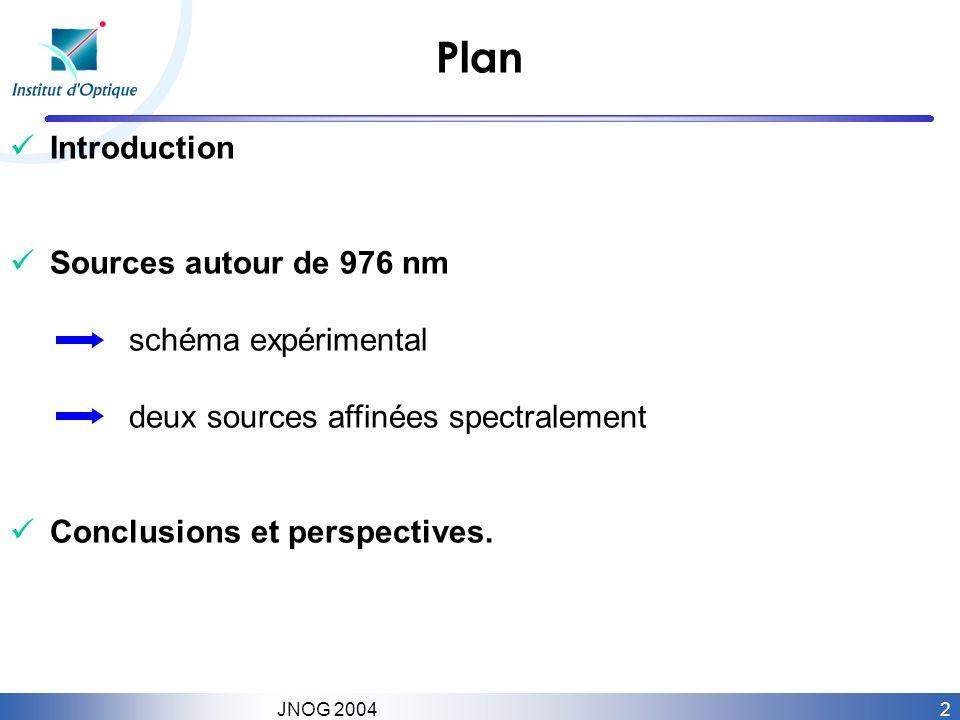 2 JNOG 2004 Plan Introduction Sources autour de 976 nm schéma expérimental deux sources affinées spectralement Conclusions et perspectives.