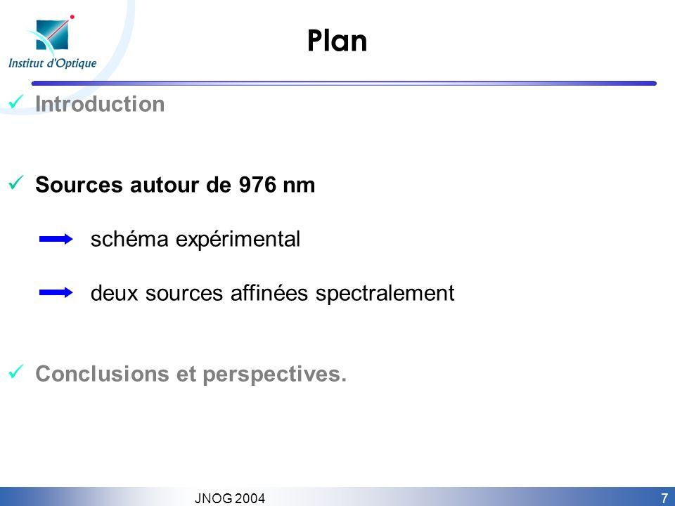 7 JNOG 2004 Plan Introduction Sources autour de 976 nm schéma expérimental deux sources affinées spectralement Conclusions et perspectives.