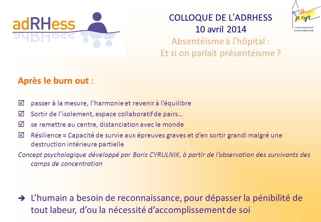 COLLOQUE DE LADRHESS 10 avril 2014 Absentéisme à lhôpital : Et si on parlait présentéisme ? Après le burn out : passer à la mesure, lharmonie et reven